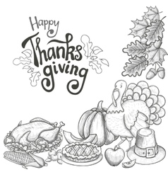 Corner frame with Thanksgiving icons vector image vector image