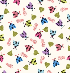 Cute background with ladybugs vector image