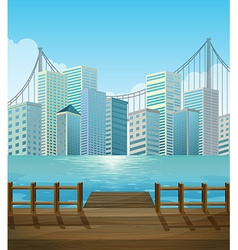 Pier with city view background vector