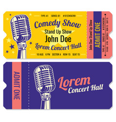 stand up comedy show entrance tickets vector image vector image