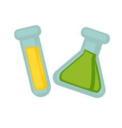 Transparent flasks with chemical liquid substances vector