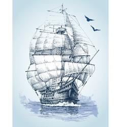 Boat on sea drawing Sailboat sketch vector image