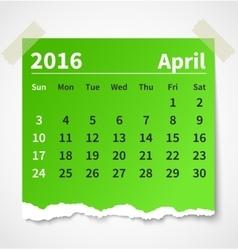 Calendar april 2016 colorful torn paper vector image vector image