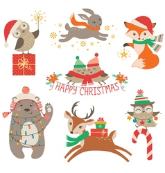 Cute Christmas animals vector image vector image