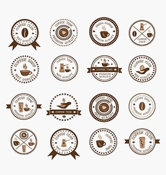 Set of vintage style elements of coffee shop vector image