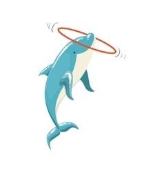 Blue bottlenose dolphin holding hula-hoop for vector