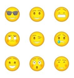 Emoji character icons set cartoon style vector image vector image