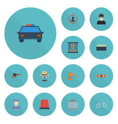 flat icons manacles signal jail and other vector image