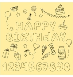 Hand drawn set with birthday cake balloons gift vector image