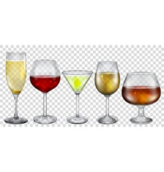 Transparent glasses with drinks vector image