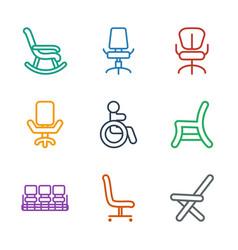 9 armchair icons vector