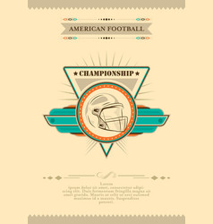 american football poster in retro style with vector image