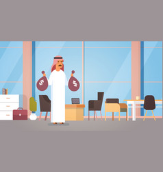 Arab business man holding money bags rich vector