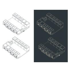 Arduino uno shield isometric drawings vector