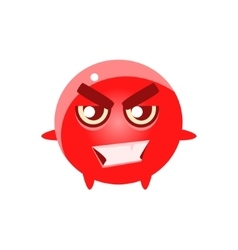 Bad Smiling Round Character Emoji vector image