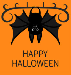Bat hanging happy halloween cute cartoon vector