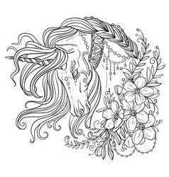 beauty unicorn coloring book vector image