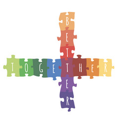 Better together logotype design made of puzzle vector