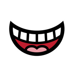 Big happy toothy cartoon smile icon vector