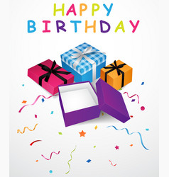 birthday background with gift box and confetti vector image