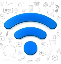 Blue wi-fi sign abstract with vector