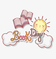 Books literature day with sun and clouds vector