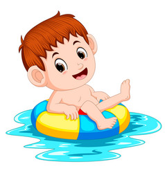 boy swims in the pool with the ring ball vector image