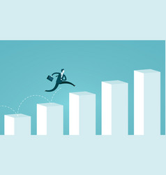 Businessman jumping on chart columns successful vector