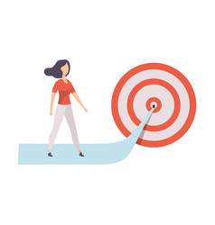 businesswoman walking to arrow to achieve target vector image