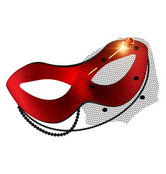 Carnival red half-mask and golden pin vector