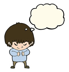cartoon shy boy with thought bubble vector image