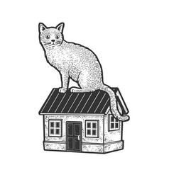 cat is sitting on house sketch vector image