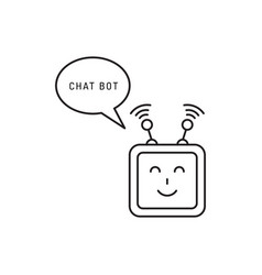 chatbot face outline icon vector image