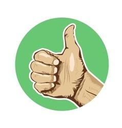 Closeup of human hand giving thumbs-up vector image