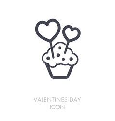 Cupcake with two hearts icon vector
