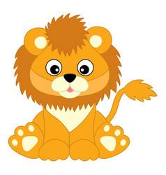 Cute baby lion sitting lion cub vector