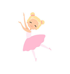 Cute little ballerina dancing girl ballet dancer vector