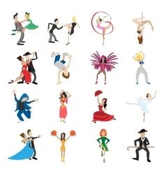 dances cartoon icons set vector image