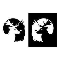 Deer and buffalo cut out silhouette icon vector