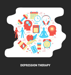 Depression therapy banner with round concept in vector