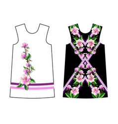 design dress with magnolia flowers vector image