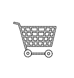 dotted shape technology shopping car to buy online vector image
