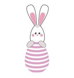 Easter bunny with egg icon vector
