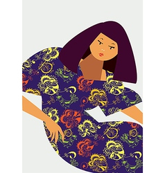 Fashion card with girl and dress vector image