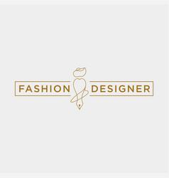 Fashion writer or designer in simple line logo vector
