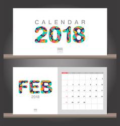 february 2018 calendar desk calendar modern vector image
