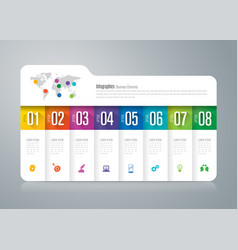 folder infographics design with 8 options vector image