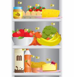 Food in refrigerator vector