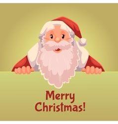 Greeting card with cartoon Santa Claus holding a vector