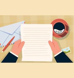 Hand holding envelope correspondence paper letter vector